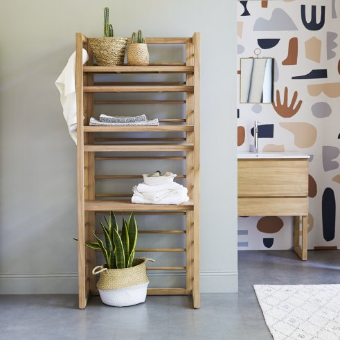 Sera teak bathroom shelving unit 180