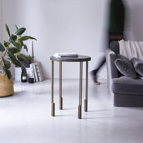Simëon Metal and Marble Side Table