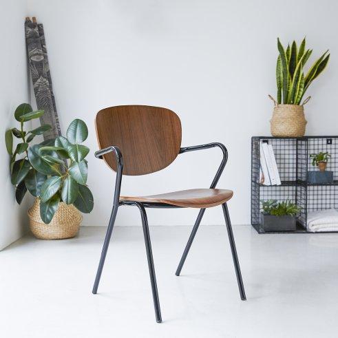 Stuhl aus Metall und Walnuss Ada