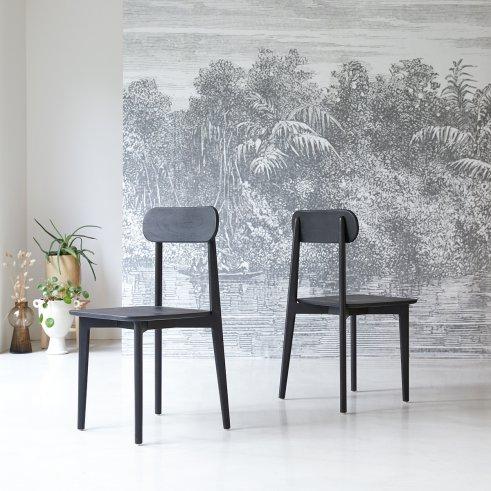 Stuhl aus Teak Jonàk schwarz