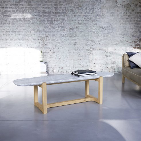 Table basse Stoneleaf en chêne et marbre 170x45