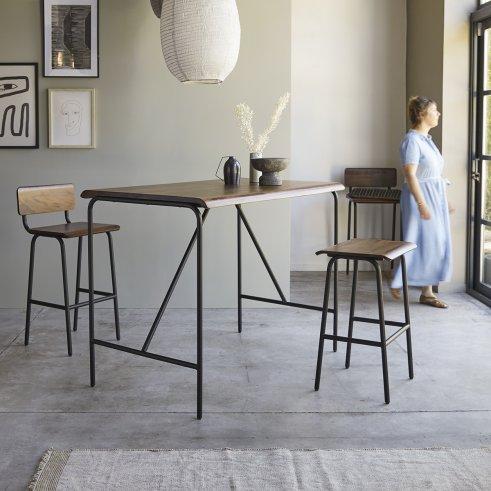 Table haute en métal et palissandre 140x85 Talia