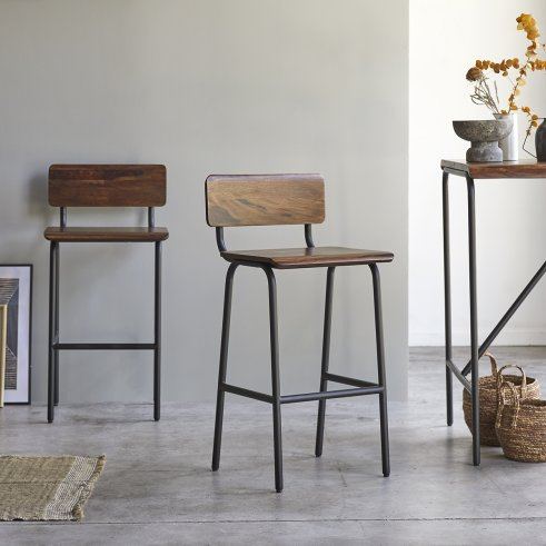 Talia Metal and Rosewood Bar Chair