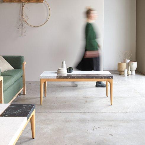 Tavolino Stonepiet in Quercia e Marmo 111x48