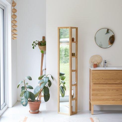 Twig Teak Mirrored Column Shelf Unit 30