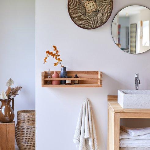 Ugo Teak Bathroom Wall Shelf 60