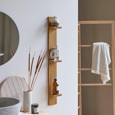 Vertical Teck Bahya Teak Bathroom Shelf