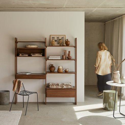 Wall Teak Bookcase 165x180