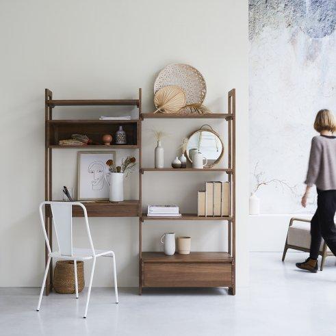 Wall Walnut Bookcase 165x180