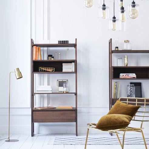 Wall Walnut Bookcase 85x180