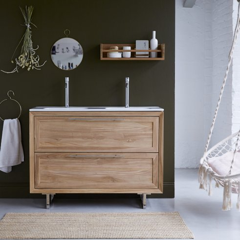 Wave Teak and Ceramic Vanity Cabinet 120