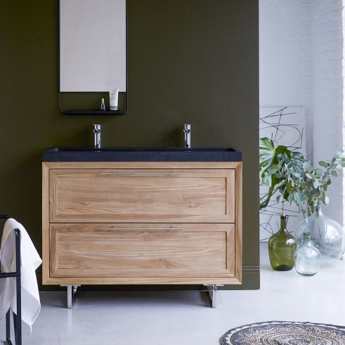 Wave Teak and Lava Stone Vanity Cabinet 120