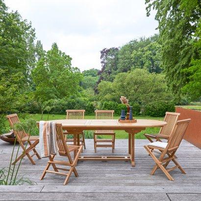 Outdoor Sitzgruppe aus Teak mit ovalem Tisch 180 und 6 Stühlen Capri