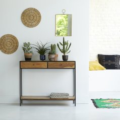 100 Agra Metal and Acacia Console
