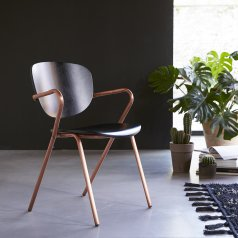 Ada Metal and Oak Chair Copper