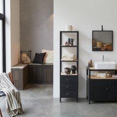 Armario alto de baño en metal y madera oscura de mango 170 Industriel