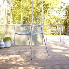Arty Metal Outdoor Armchair Bleu Grey