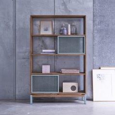 Bücherregal aus Metall und Teak 110x174 Color Bebop