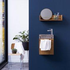 Badunterschrank Teak mit Marmor Waschbecken Stelle grey