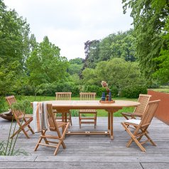 Capri Teak Table and 6 Chairs garden lounge