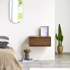 Circa 1-Drawer Wall-Mounted Teak Bedside Table