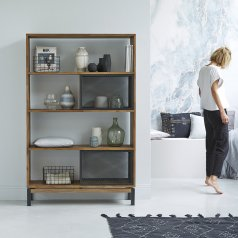 Color Bebop black teak and metal bookcase 174
