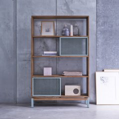 Color Bebop Metal and Teak Bookcase 110x174