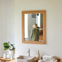 Espejo de teca Tona no tratada 90x70