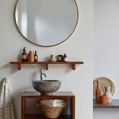 Estantería de pared horizontal para baño en palisandro Bahya