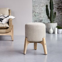 Hocker Drum linen aus Eiche