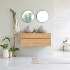 Jacob Oak Wall-Mounted Vanity Unit 120