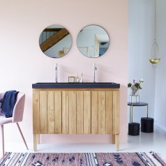 Jill Teak and Lava Stone Vanity Cabinet 120