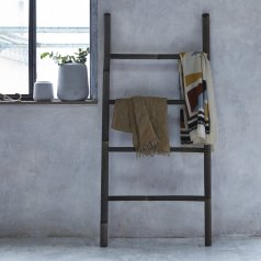 Ladder Black Bamboo Linen Rack 150