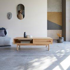 Mesa baja en madera oscura de mango 115x60 Rafael