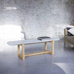 Mesa de centro en roble y mármol 170x45 Stoneleaf