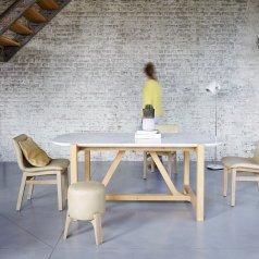 Mesa en roble y mármol 180x95 Stoneleaf