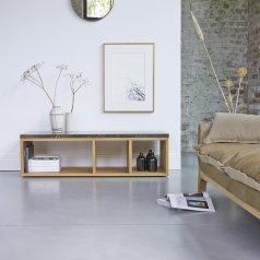 Meuble TV Eyota en chêne et marbre 131