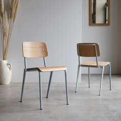 Mio grey metal and ash chair