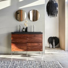 Mueble con lavabo de palisandro y piedra de lava 120 Nova