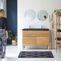 Mueble con lavabos de roble y piedra de lava 120 Easy
