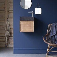 Mueble de baño en teca y mármol Basic black