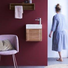 Mueble de baño en teca y mármol Basic cream