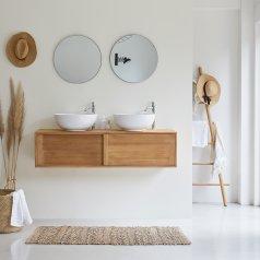 Mueble de baño suspendido en teca 140 Basic