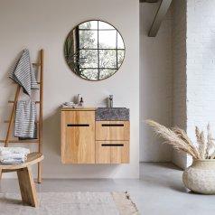 Mueble de baño suspendido en teca con lavabo de mármol 85 Line