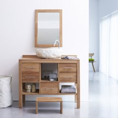 Mueble de lavabo de teca no tratada 100 Galyno