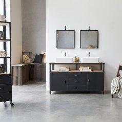 Mueble de lavabo en metal y madera oscura de mango 140 Industriel