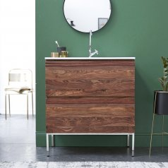 Nova Sheesham Vanity Cabinet with Ceramic Washbasin 80