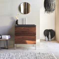 Nova Sheesham Vanity Cabinet with Lava Stone Washbasin 80