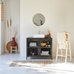 Romy metal and mango vanity cabinet 90