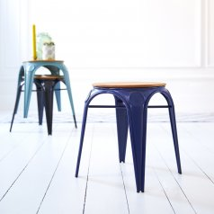 Sam Willow and Metal Stool Navy